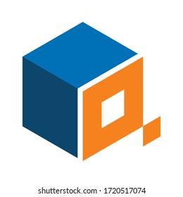 letter Q cube design log for a technology and financial consulting company