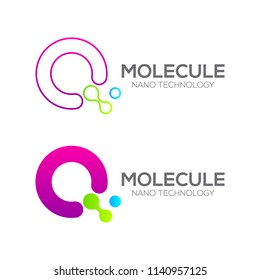 Letter Q with Dot and Curve ,Circles shape connected, Molecule and Nano Technology logotype, innovation tech, Medicine, Science, Laboratory, Cosmetics