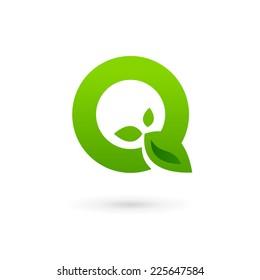 Letter Q eco leaves logo icon design template elements
