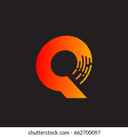 Letter Q with Fast logo, Speed, Moving and Quick, Digital and Technology for your Corporate identity