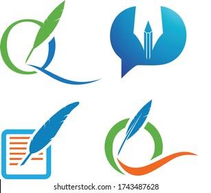 Letter Q Feather pen Logo Vector