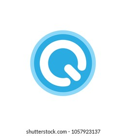 letter Q geometric power button logo vector
