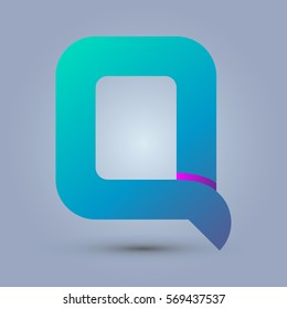 Letter Q icon and logo template.  New design and elegant typographic concept. One line purple. blue