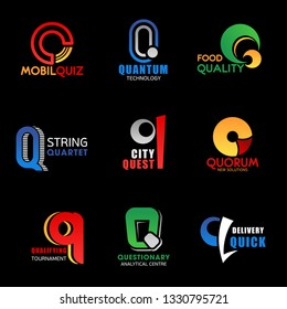 Letter Q icons and signs. Mobil quiz and quantum technology, food quality and string quarter, city quest and quorum solutions. Qualifying tournament and questionary center, quick delivery vector