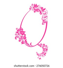 Letter Q isolated on white. Romantic letter of beautiful flowers. Floral Alphabet. Vector Illustration