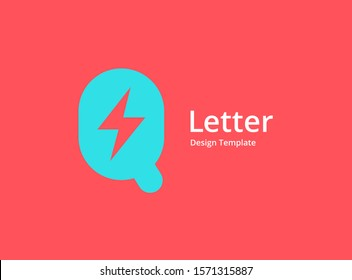 Letter Q lightning logo icon design template elements