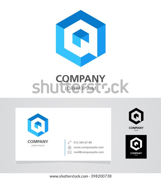 Letter Q - Logo Design Element with Business Card - illustration   Vector Logotype Template