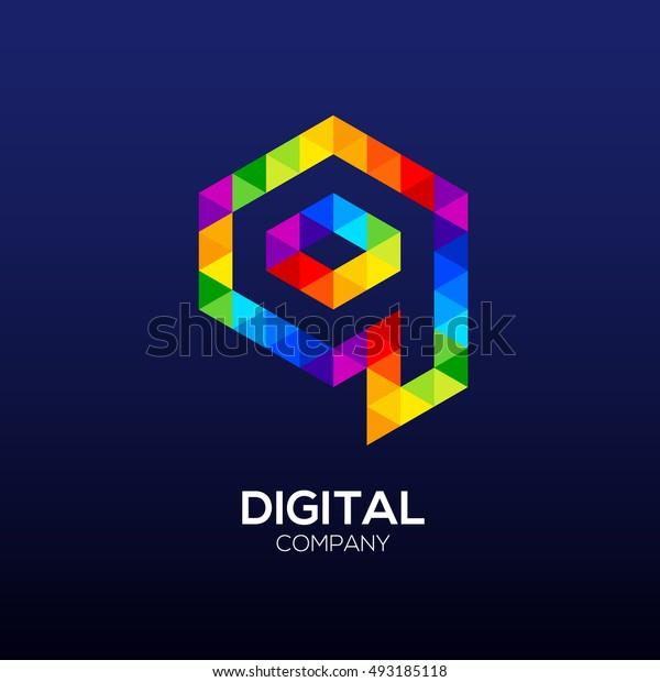 Letter q Logo Design.Hexagon logo,Polygon logo,Digital,Media