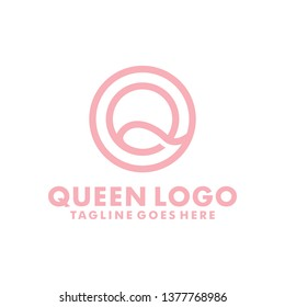 Letter Q logo for Queen Initials with Line Style