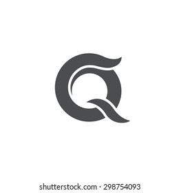 Letter Q logo / symbol - vector icon - grayscale version