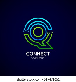 Letter Q logotype green and blue color,Technology and digital abstract dot connection vector logo