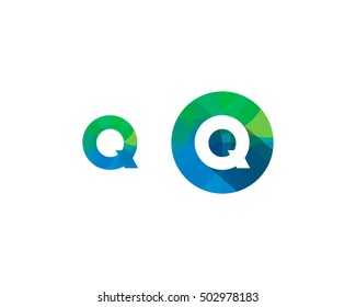Letter Q Multiply Colorful Shadow Logo Design Template