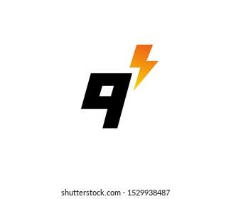 Letter Q or number 9 lightning logo icon design template elements