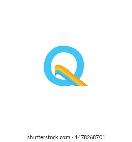 Letter Q with rainbow element. Q letter logo vector template