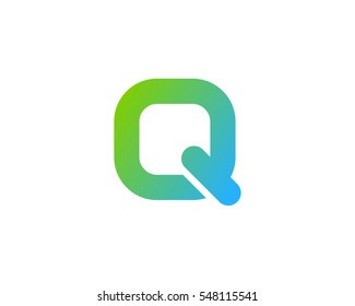 Letter Q Round Square Logo Design Element