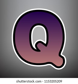 Letter Q sign design template element. Vector. Violet gradient icon with black and white linear edges at gray background.