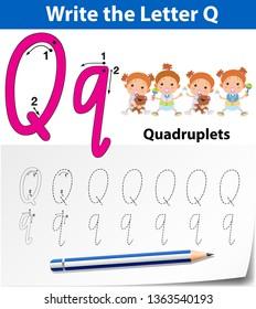 Letter Q tracing alphabet worksheets illustration