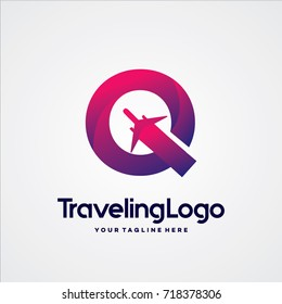 Letter Q Travel Logo Template Design Vector, Emblem, Design Concept, Creative Symbol, Icon