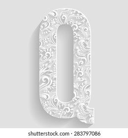 Letter Q. Vector Floral Invitation cards Decorative Font
