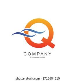 Letter q and waves logo design