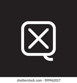 letter Q and X monogram square shape logo white black background