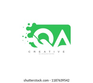Letter QA Logo Design Vector with Abstract Square Shape Dots