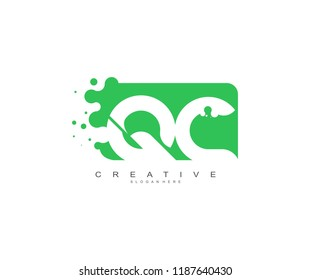 Letter QC Logo Design Vector with Abstract Square Shape Dots