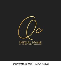 Letter Qc Logo. Initial Letter Design Vector Luxury Colors