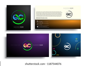 Letter QC logotype with colorful circle, letter combination logo design with ring, sets of business card for company identity, creative industry, web, isolated on white background.