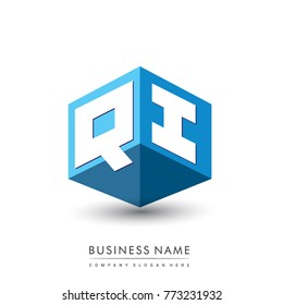 Letter QI logo in hexagon shape and blue background, cube logo with letter design for company identity.