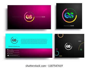Letter QS logotype with colorful circle, letter combination logo design with ring, sets of business card for company identity, creative industry, web, isolated on white background.