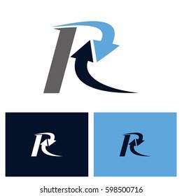 Letter R With Arrow Logo