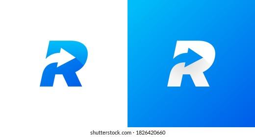 Letter R with Arrow . Letter R arrow logo design . vector illustration eps10