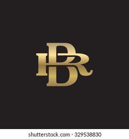 letter R and B monogram golden logo
