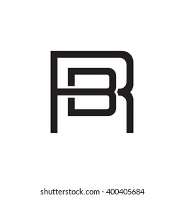 letter R and B monogram square shape logo black