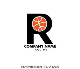 Letter R for Basketball Logo Template