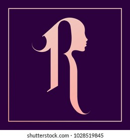 Letter R with beautiful woman portrait silhouette.Cosmetics and beauty vector icon.