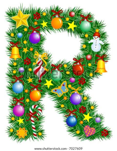 Letter R - Christmas tree decoration - part of a full set Alphabet