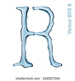 Letter R from clear transparent bluish water droplets. Vector EPS 8.