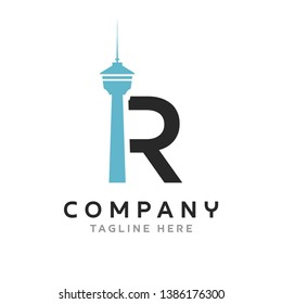 Letter R CN Tower Logo design