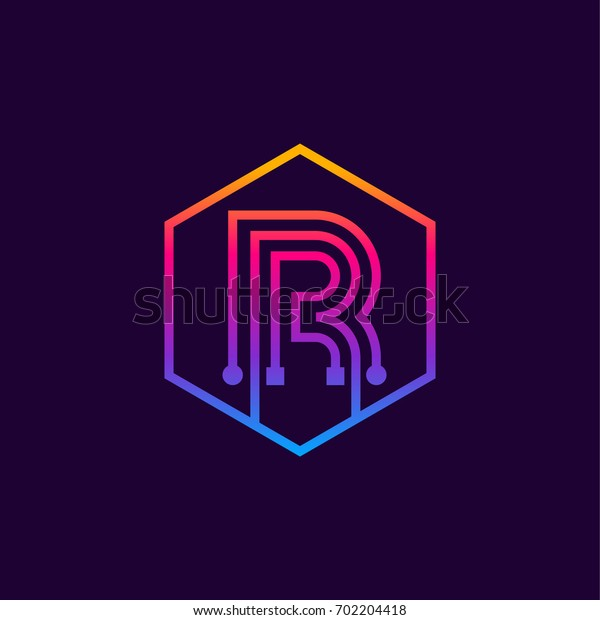 Letter R colorful, Dots logo, linear hexagon shape, Digital and Technology logotype for your Corporate identity