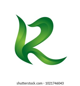Letter R colorful flame swoosh Vector logo design template. Icon alphabet concept, abstract shape, eps10