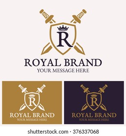 Letter R with crown and shield with two crossed swords vector logo template for uses in different spheres