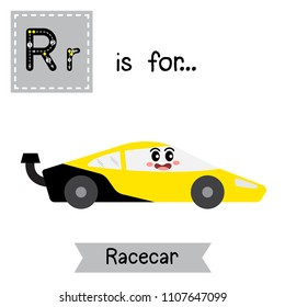 Letter R cute children colorful transportations ABC alphabet tracing flashcard of Racecar for kids learning English vocabulary Vector Illustration.