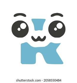 Letter R cute kawaii character, funny emoticon vector clip art.