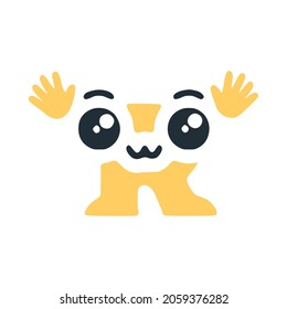 Letter R cute kawaii character with hands, funny emoticon vector clip art.