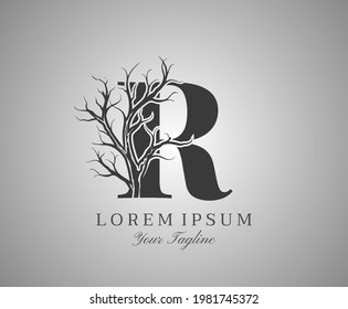 Letter R With Dead Tree Design Logo Icon. Creative Alphabetical Creepy Dry Tree Brach Nature Logo Template.