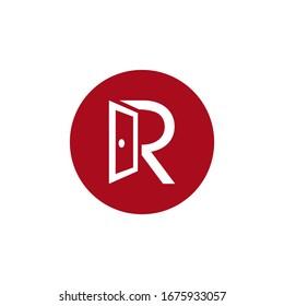 Letter R Door Logo design , vector