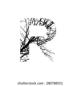 Letter R double exposure with black tree isolated on white background.Vector  illustration.Black and white double exposure silhouette numbers combined with photograph of nature.Letters of the alphabet