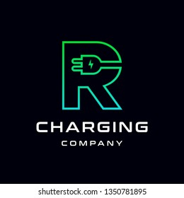 Letter R Electric Plug vector logo template. Font with green and blue gradient graphic.  Technology background. This alphabet is suitable for energy, power, cable, wire, electrical, device, connect.